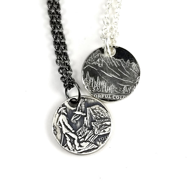 Silver State Coin Punch Out Charm Necklace by midnight jo