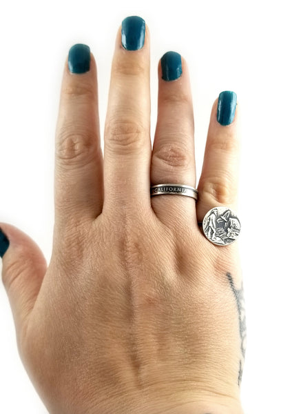 Silver State Quarter Punch Out Stacking Ring Set by Midnight Jo by midnight jo