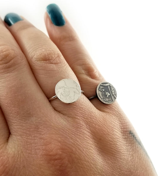 Silver State Quarter Punch Out Stacking coin Ring by midnight jo