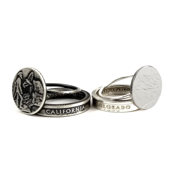 Silver State Coin Punch Out Stacking Ring Set by Midnight Jo