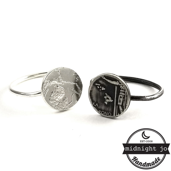 Silver State Quarter Punch Out Stacking Ring by midnight jo