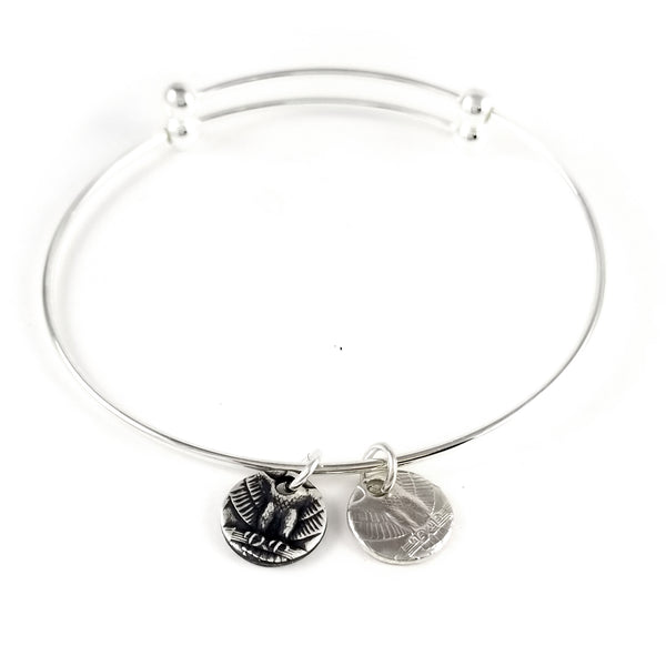 Silver State Coin Hoop Earrings and Charm Bracelet Set by midnight jo
