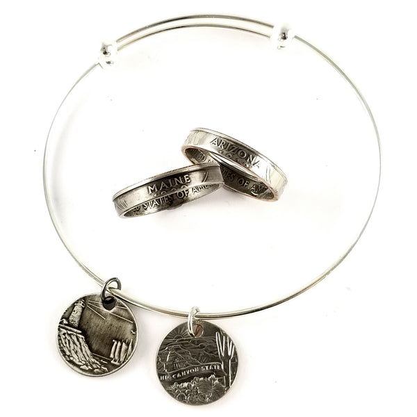 State Quarter Stacking Coin Ring & Punch Out Bracelet Set