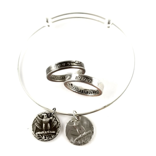 1965-1998 Washington Quarter Stacking Ring & Charm Bracelet Set by midnight jo