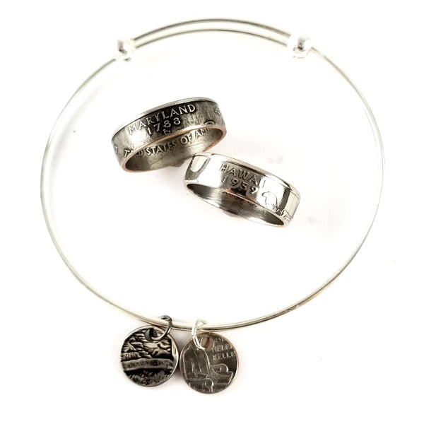 State Quarter Coin Ring & Punch Out Bracelet Set