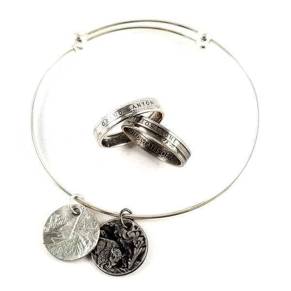 National Park Narrow Coin Ring & Bracelet Set by Midnight jo