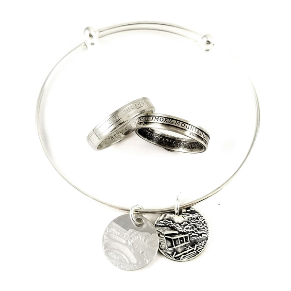 Silver National Park Stacking Coin Ring & Charm Bracelet Set by midnight jo