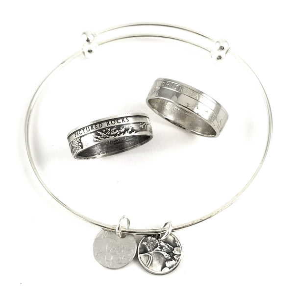 Silver National Park Coin Ring & Charm Bracelet Set by midnight jo
