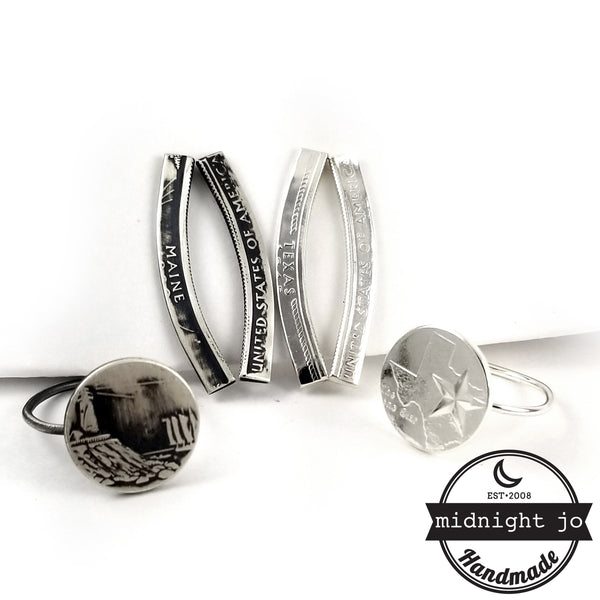 90% Silver State Coin Climber Earrings & Stacking Ring Set by midnight jo
