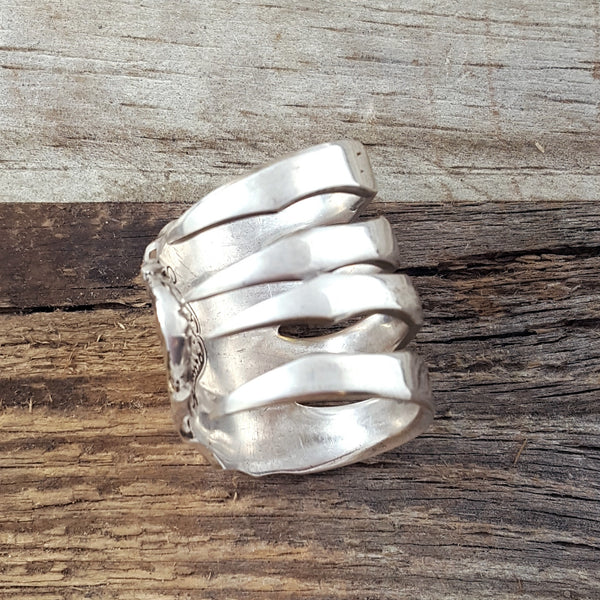 old colonial sterling silver fork ring