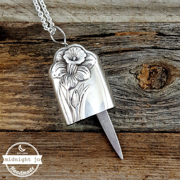 daffodil silverplate flatware knife necklace bell