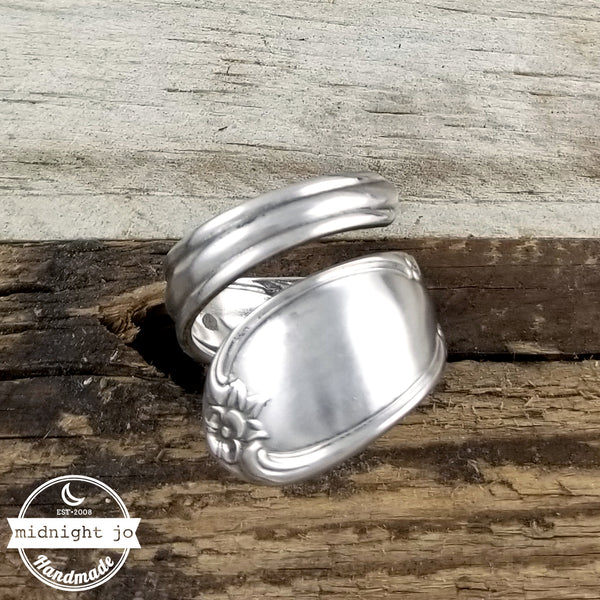 Wrap Around Floral Stainless Steel Spoon Ring