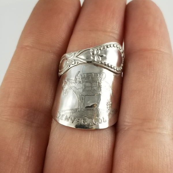 Sterling Silver Denver Souvenir Demitasse Spoon Ring by Midnight Jo