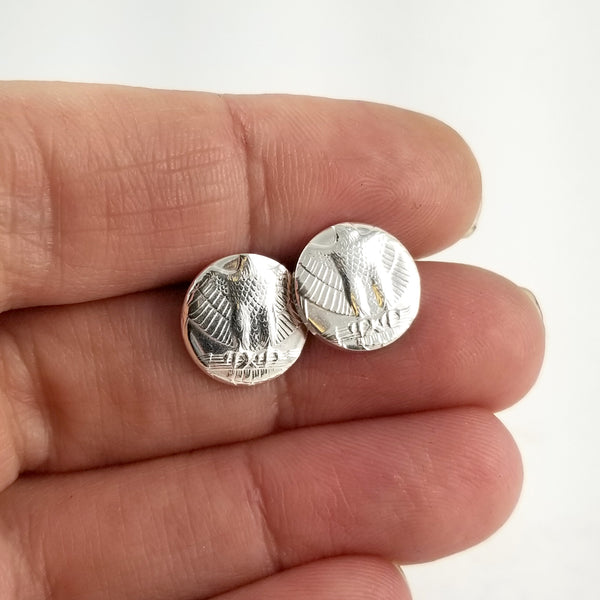 90% Silver eagle coin Quarter Punch Out Stud Earrings by Midnight Jo