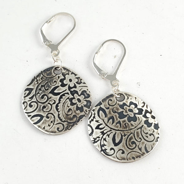 Sterling & Coin Silver Eco Chic Textured Floral Earrings by midnight jo