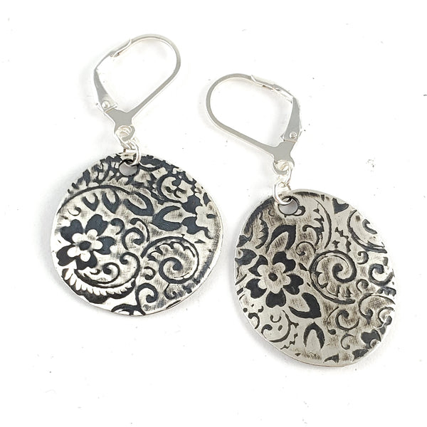 Sterling & Coin Silver Eco Chic Floral Earrings