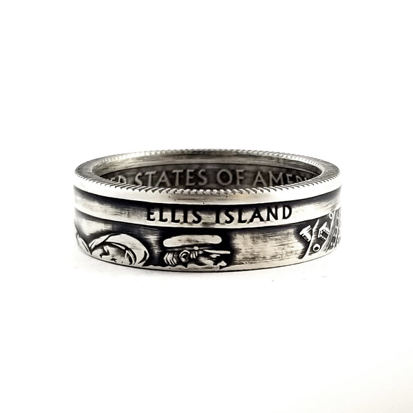 Ellis Island silver quarter coin ring
