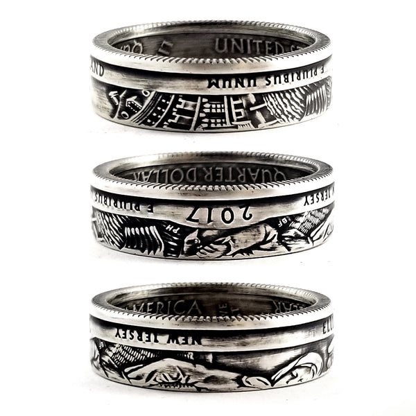 90% Silver Ellis Island National Park Quarter Ring by Midnight Jo