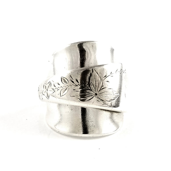 Meriden Etched Leaves Demitasse Spoon Ring by Midnight Jo