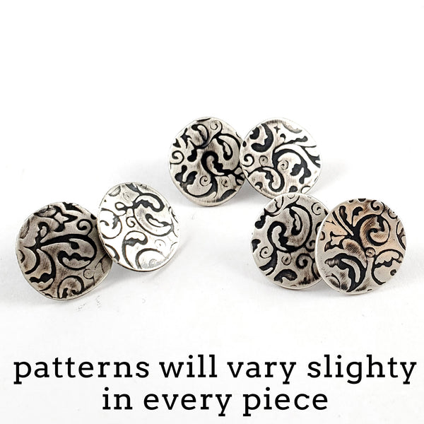 Sterling & Coin Silver Eco Chic Filigree Stud Earrings by Midnight Jo