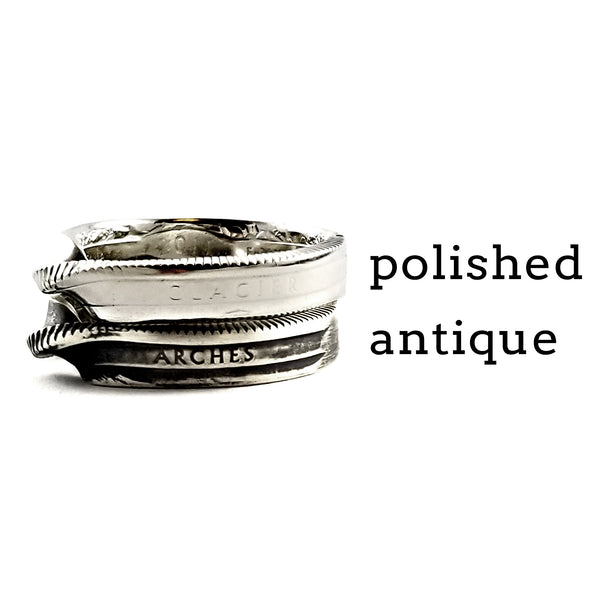 Silver National Park Twisted Coin Ring by Midnight Jo