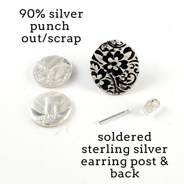 Sterling & Coin Silver Eco Chic Floral Stud Earrings by Midnight Jo