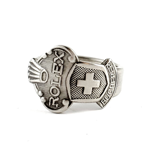 Rolex Swiss Cross Geneve Stainless Steel Spoon Ring by Midnight Jo