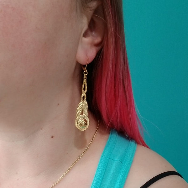 Gold Rose Spoon Long Dangle Earrings by midnight jo