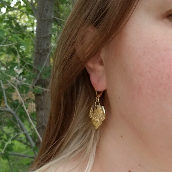floral gold spoon earrings