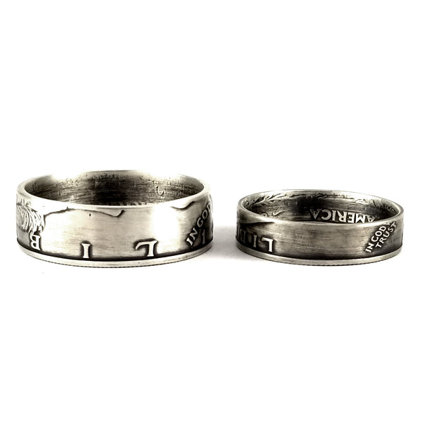 Matching 25th Anniversary Rings - Silver Half Dollar & Quarter Rings by midnight jo