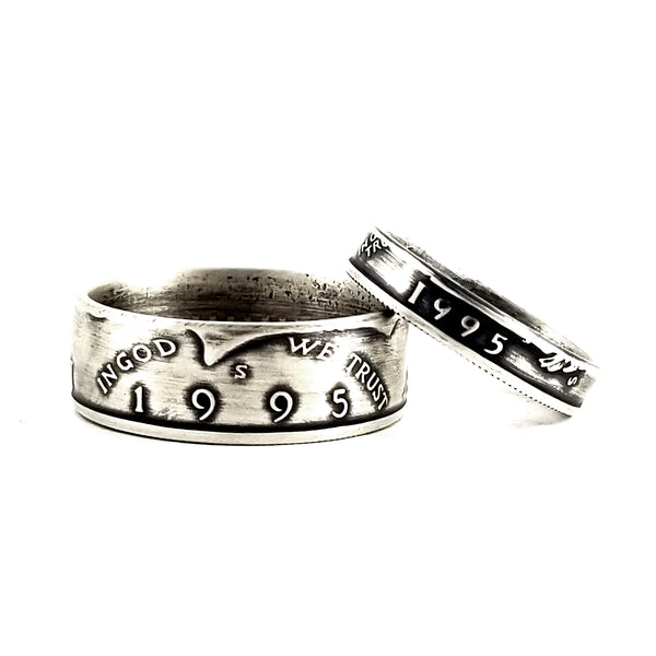 Silver 1995 Half Dollar & Quarter Ring Set - 25th Anniversary Rings by midnight jo