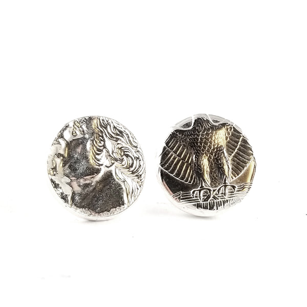 90% Silver Quarter Heads & Tails Stud Earrings by Midnight Jo