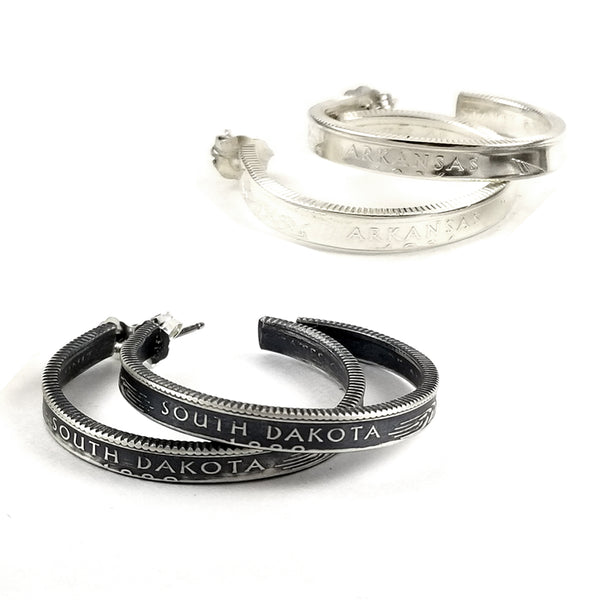 90% Silver State Coin Hoop Earrings by midnight jo
