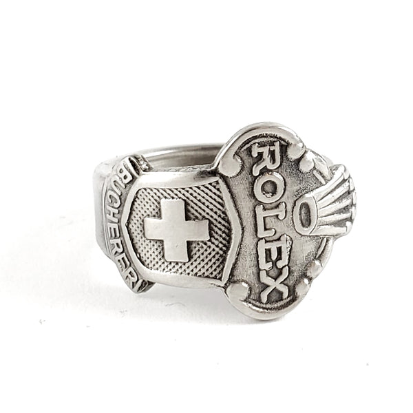 Rolex Swiss Cross Lugano Stainless Steel Spoon Ring by Midnight Jo