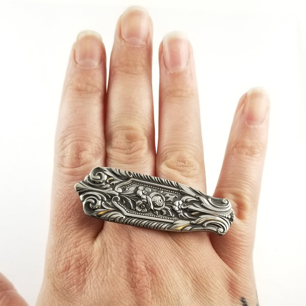Sterling Silver Milburn Rose Spoon Knuckle Duster Ring by midnight jo