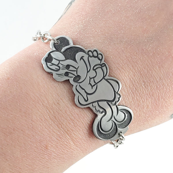 Vintage Minnie Mouse Stainless Steel Spoon Bracelet by midnight jo