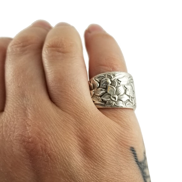 National Silver Narcissus Spoon Ring on hand by midnight jo