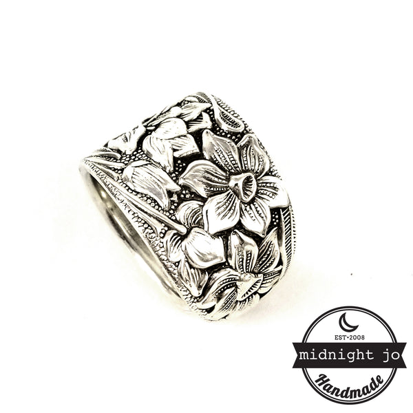 National Silver Narcissus daffodil Spoon Ring by midnight jo