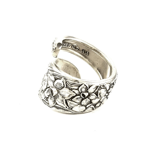 National Silver Narcissus Wrap Around Spoon Ring by midnight jo