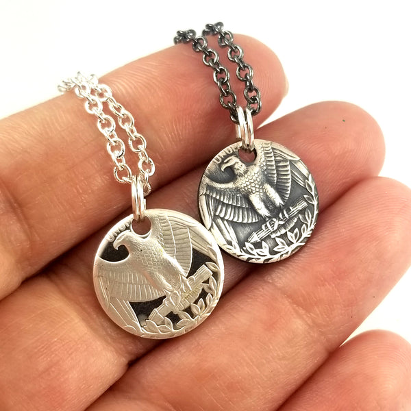 silver washington quarter punch out charm necklaces by midnigt=ht jo