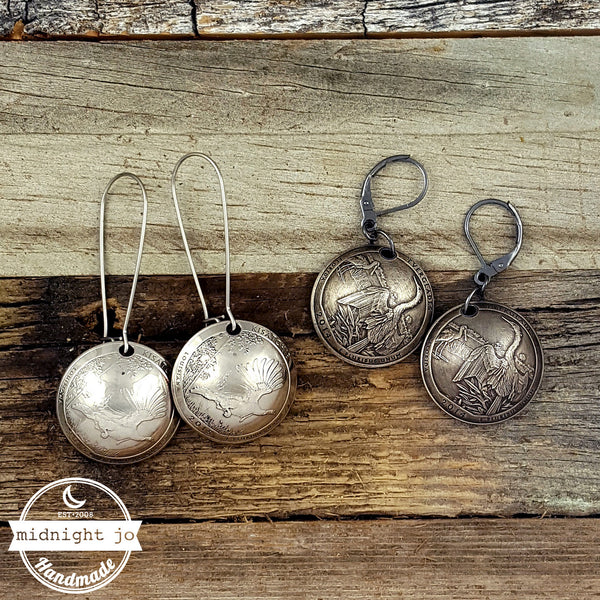 domed atb quarter coin earrings