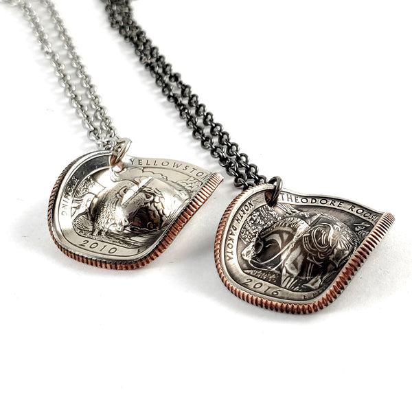 National Park Quarter Cowboy Hat Coin Necklace by midnight jo