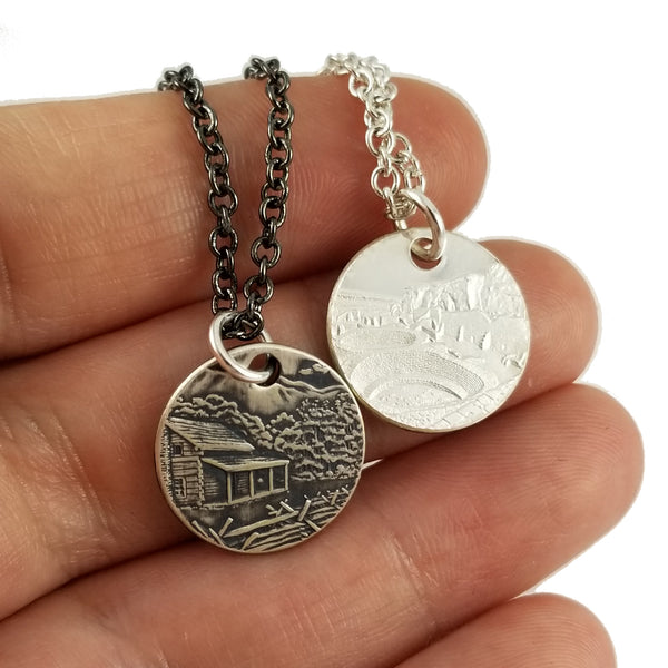 Silver National Park Quarter Large Punch Out Necklace by midnight jo