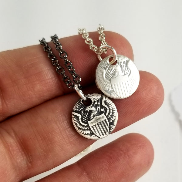 Silver JFK Half Dollar Eagle Charm Necklace by Midnight Jo