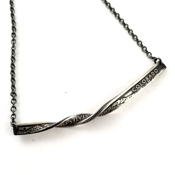 Silver State Quarter Twisted Bar Necklace by midnight jo