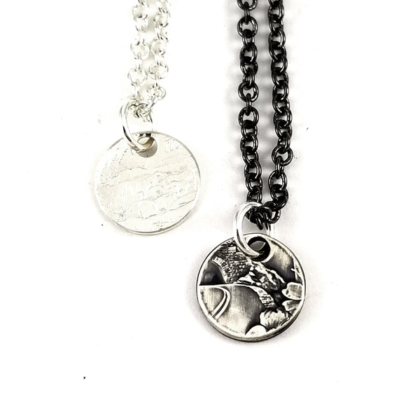 silver coin charm necklaces by midnight jo