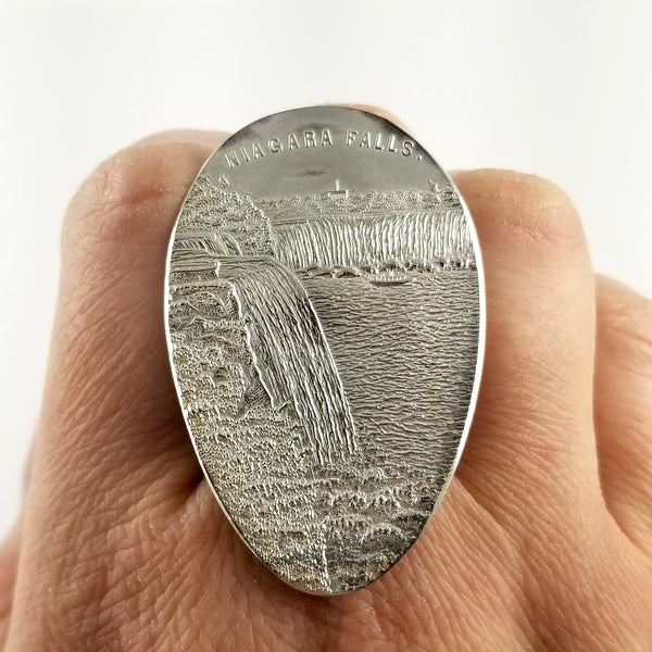 Sterling Silver Niagara Falls Souvenir Spoon Statement Ring by midnight jo