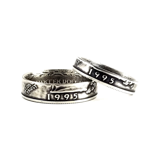 Silver 1995 Quarter Ring Set - 25th Anniversary His & Hers Ring Set