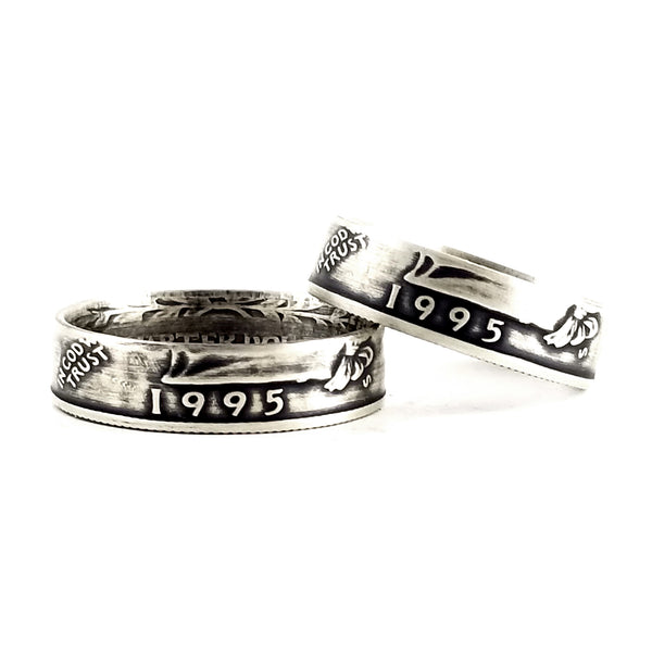 Silver 1995 Quarter Ring Set - 25th Anniversary Ring Set by midnight jo
