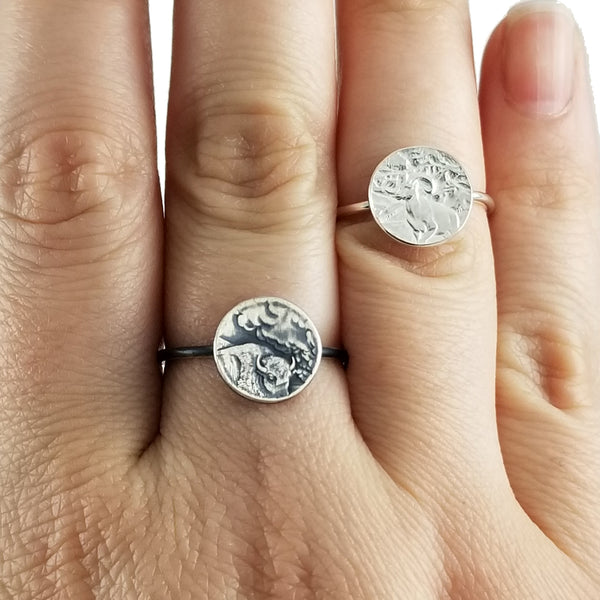 Silver National Park Quarter Punch Out Stacking Ring by midnight jo